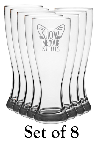 Show Me Your Kitties Gray - Pilsner Glass - Set of 8