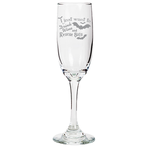 Drink Wine Rescue Bats - Champagne Flute