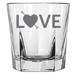 Love With Heart And Arrow - Rock Glass