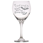 Drink Wine Rescue Bats - Red Wine Glass