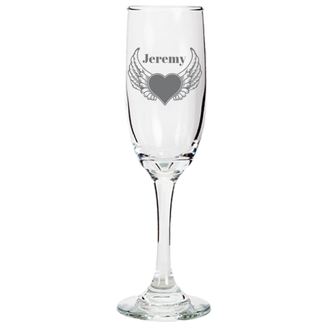 Heart Wings (Personalized) - Champagne Flute