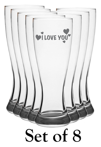 I Love You - Pilsner Glass - Set of 8
