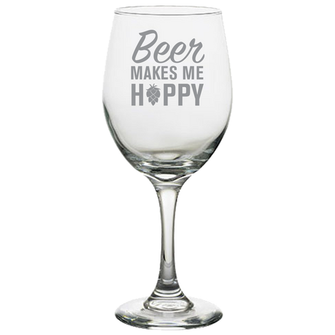 Beer Makes Me Happy - White Wine Glass