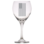 American Flag Vertical - Red Wine Glass
