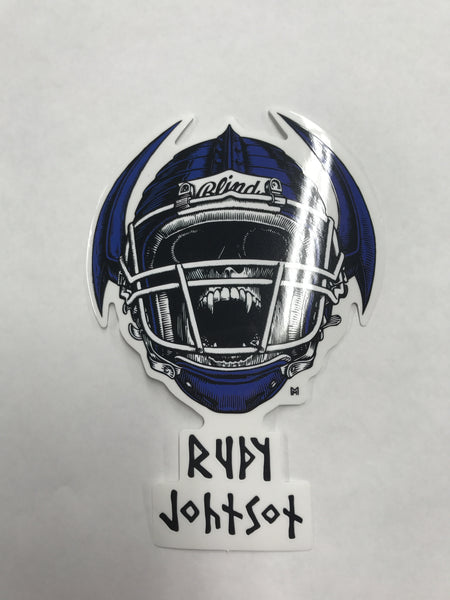 Blind Rudy Johnson Jock Skull Spoof Sticker
