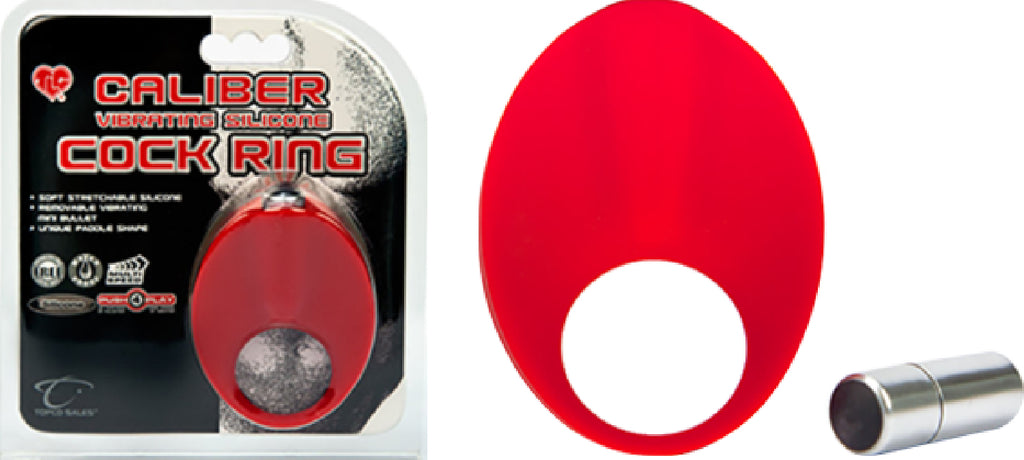 Caliber Vibrating Silicone Cock Ring (Red)