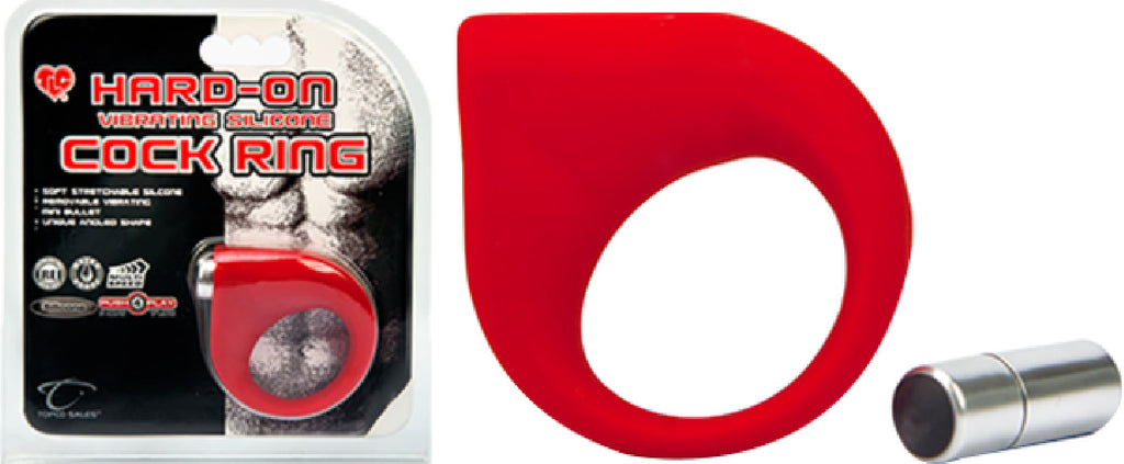 Hard-On Vibrating Silicone Cock Ring (Red)