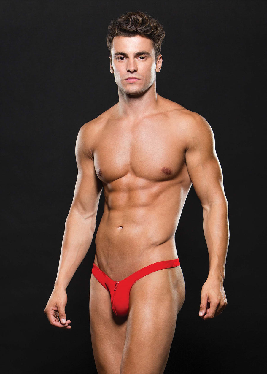 Microfibre Low Rise Zip Thong Red