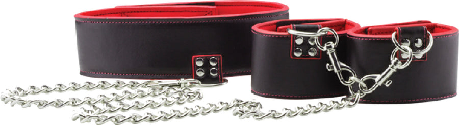 Reversible Collar And Wrist Cuffs (Red)