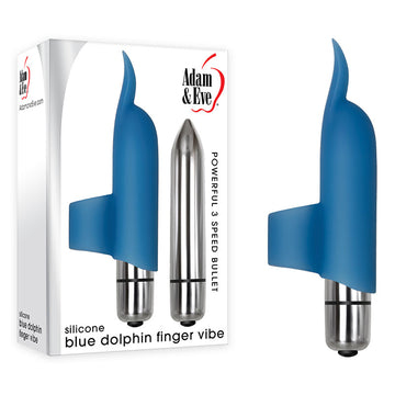 Adam & Eve Silicone Blue Dolphin Finger Vibe