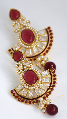 Gold Plated Antique Drop Earring, Red - SharePyar - 1