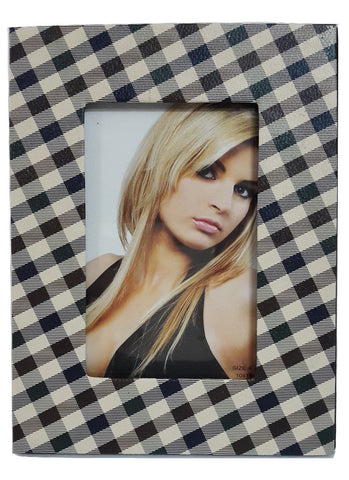Photo Frame PU Leather 4X6 inch (10X15 cm) Check Pattern front - Sharepyar.com
