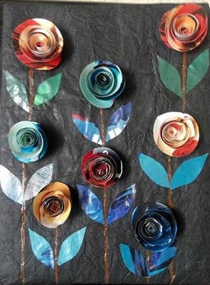 Paper Rose Flower Wallhanging ( Set of 5 ) - Crafts - SharePyar