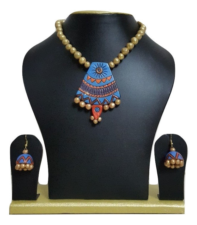 Handmade Terracotta Jewellery, Contemporary Necklace Earring Set, Blue / Orange - Jewellery - SharePyar