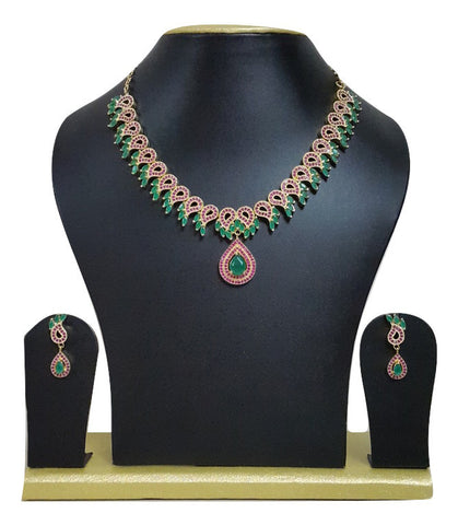 Cubic Zirconia & Ruby Designer Necklace Set For Women - SharePyar - 1