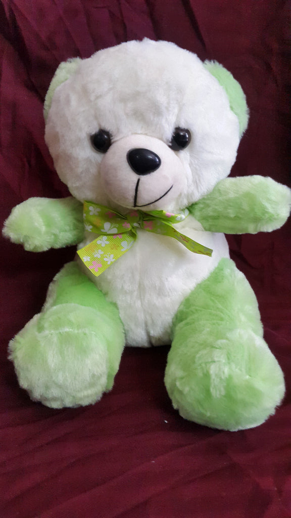 Cute Teddy Bear Soft Toy - 10 inches - White, Green - SharePyar - 1