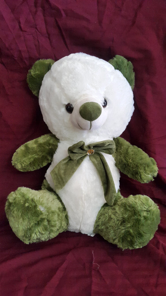 Adorable, Cuddly Teddy Bear Soft Toy - 18 inches - White, Green - Plush Toy - SharePyar