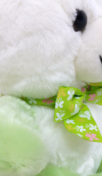 Cute Teddy Bear Soft Toy - 10 inches - White, Green - SharePyar - 2
