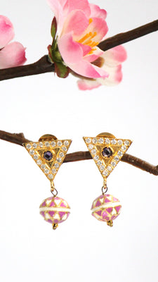 American Diamond Dangle Earrings, Pink - Jewellery - SharePyar