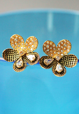 American Diamond Flower Stud Earrings - Jewellery - SharePyar