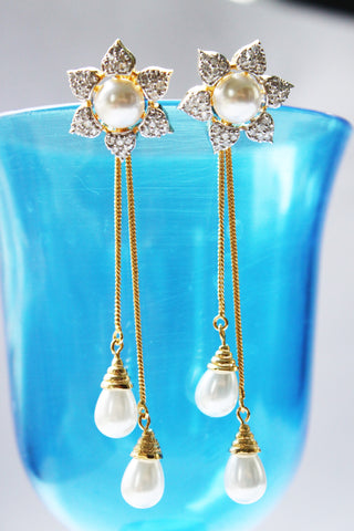 American Diamond Flower Studs with Golden Tassel - SharePyar - 1