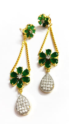 American Diamond Green Danglers - Jewellery - SharePyar