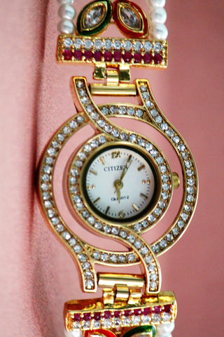 American Diamond Kundan Fashion Watch - SharePyar - 1