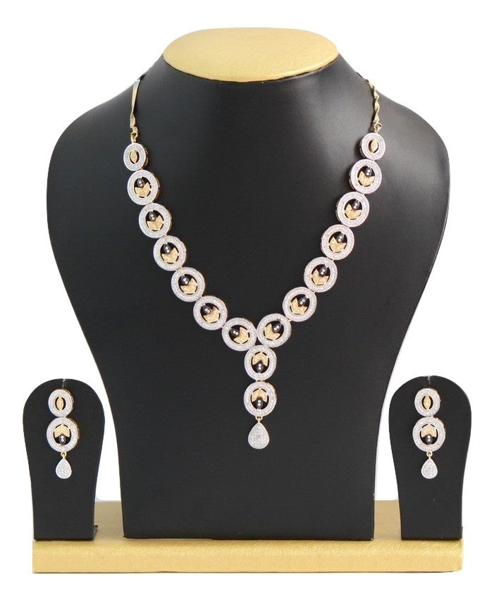 White American Diamond Studded Necklace Set - Jewellery - SharePyar