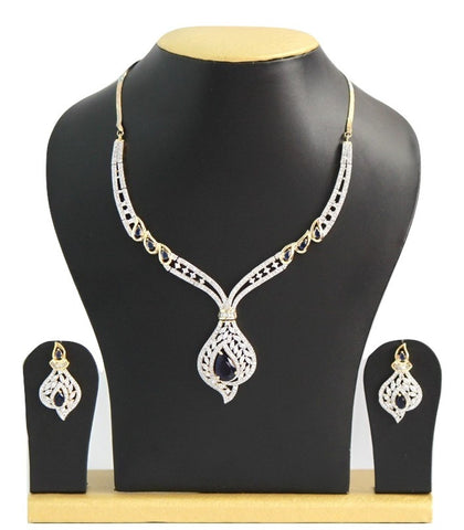 White and Indigo American Diamond Necklace Set - SharePyar - 1