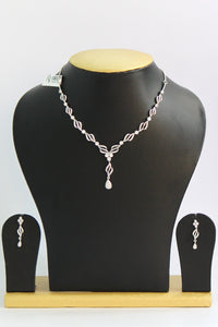 American Diamond Necklace Set in White Gold Finish - Jewellery - SharePyar