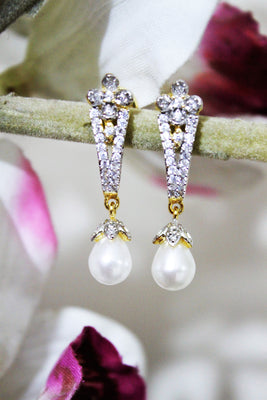 American Diamond Pearl Stud Earrings - Jewellery - SharePyar