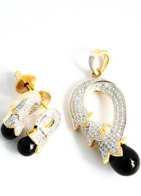 American Diamond Pendant Set with Black Moti - Jewellery - SharePyar