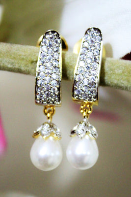 American Diamond Studs with Dangle Pearl - Jewellery - SharePyar
