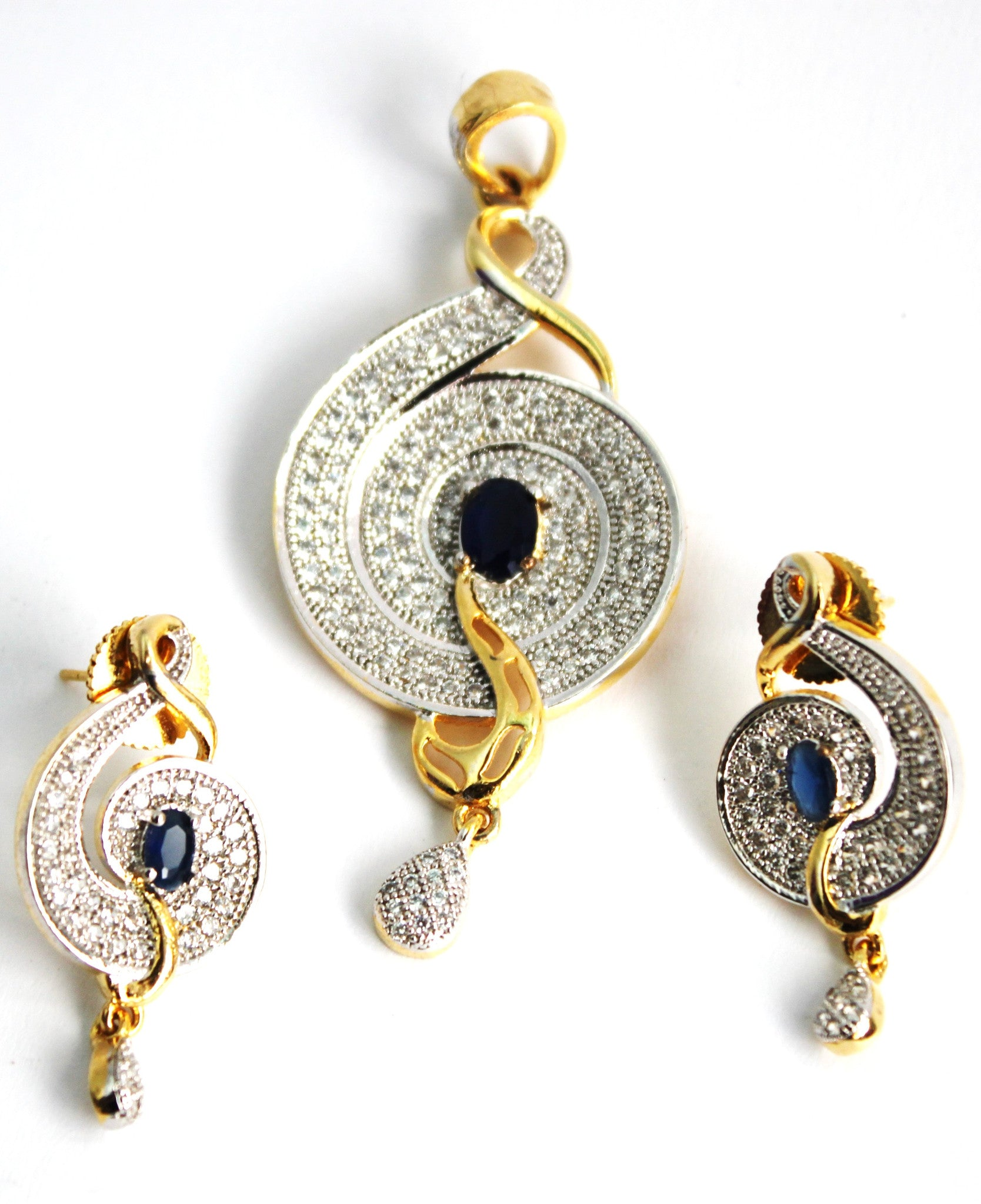 Contemporary gold plated copper alloy with american diamonds Pendant Sets