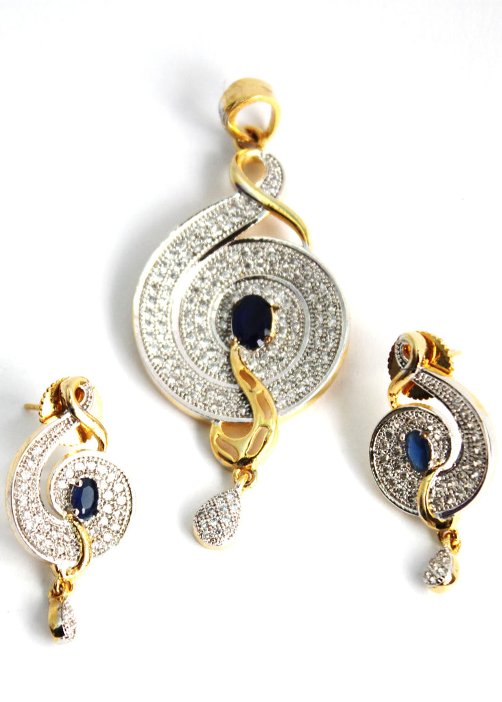 American Diamond Swirl Pendant Set - Jewellery - SharePyar