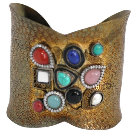 Antique Cuff Style Bracelet with Semi-precious Stones - SharePyar - 1