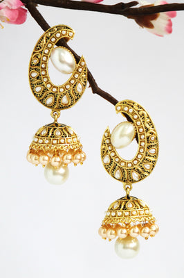 Antique Gold Plated Jhumka (Hindi: झुम्का ), White - Jewellery - SharePyar