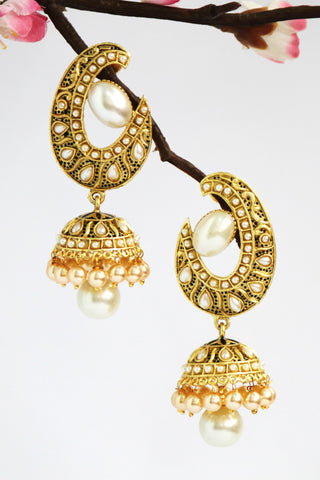 Antique Gold Plated Jhumka (Hindi: झुम्का ), White - SharePyar - 1