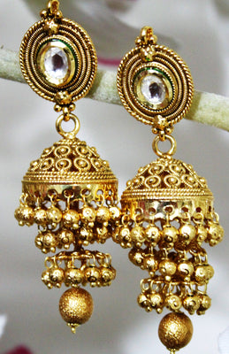 Antique Gold Plated Layered Jhumka - Jewellery - SharePyar