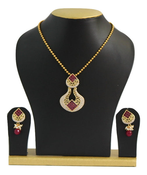 Antique Gold Plated Necklace Set with Stones & Pearls - SharePyar - 2