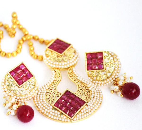 Antique Gold Plated Necklace Set with Stones & Pearls - SharePyar - 3