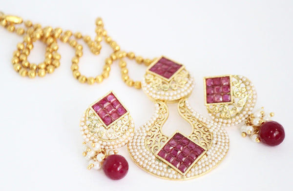 Antique Gold Plated Necklace Set with Stones & Pearls - SharePyar - 5