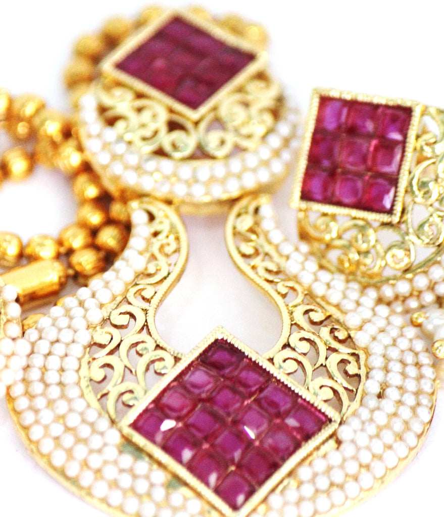 Antique Gold Plated Necklace Set with Stones & Pearls - SharePyar - 1