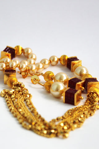 Antique Gold Plated Pearl Chain Necklace Set - SharePyar - 1