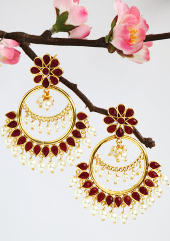 Antique Gold Plated Pearl Hoop Earring, Red / White - SharePyar - 1