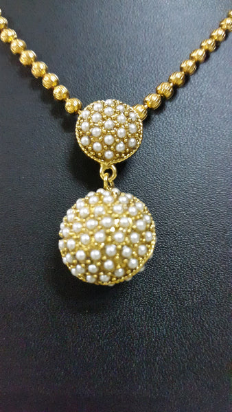 Antique Gold Plated Pearl Necklace Earring Set - SharePyar - 3