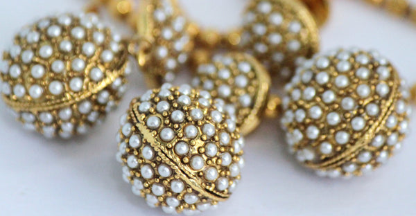 Antique Gold Plated Pearl Necklace Earring Set - SharePyar - 5
