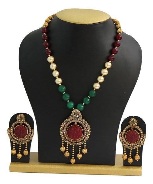 Antique Gold Plated Pearl Necklace Set - SharePyar - 2