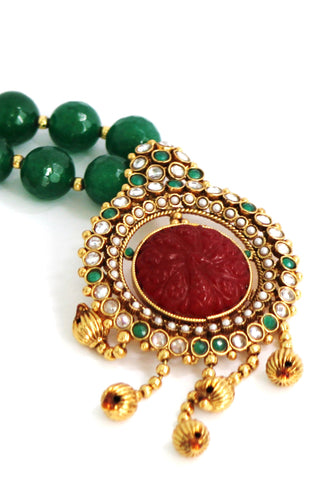 Antique Gold Plated Pearl Necklace Set - SharePyar - 1