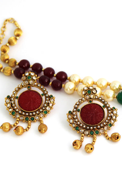 Antique Gold Plated Pearl Necklace Set - SharePyar - 3